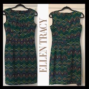 ELLEN TRACY Geometric Print Pencil Dress